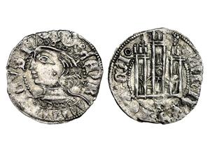 Dinero coronado ó Cornado de Enrique II. Toledo 1373-4-momeca-vico-T